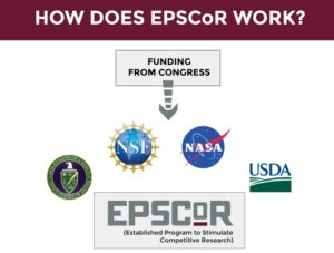 Diagram depicting how funding from congress comes to DoE, NSF, NASA, and the USDA, and then to the relevant program within EPSCoR