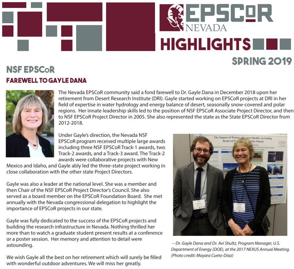 Spring 2019 EPSCoR Highlights